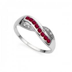 925 ezüst gyűrű rubinnal és CZ kristályokkal díszítve