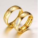 páros karikagyűrű Aranyozott, női karikagyűrű kristályokkal