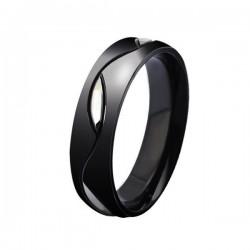 Férfi nemesacél karikagyűrű, fekete színben