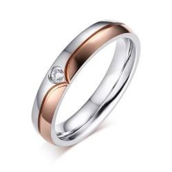 páros karikagyűrű Rózsaaranyozott női karikagyűrű cirkóniával