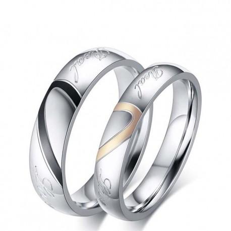 páros karikagyűrű Férfi karikagyűrű felirattal, nemesacélból