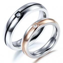 páros karikagyűrű Kéttónusú férfi karikagyűrű cirkóniával