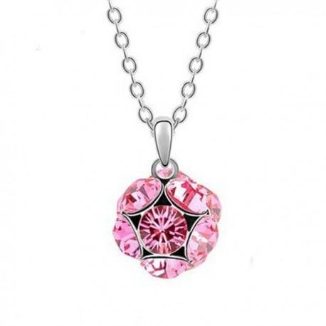 kristályos nyaklánc Rózsaszín kristályos shamballa stílusú