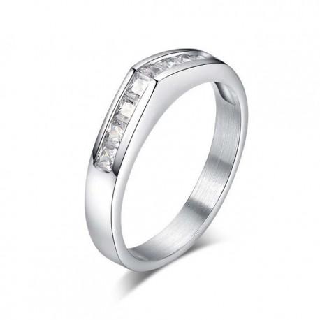 nemesacél gyűrű Fehér köves nemesacél gyűrű