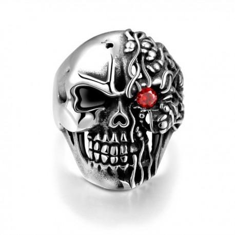 Férfi nemesacél gyűrű webáruház Nemesacél koponya gyűrű - piros