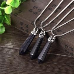 bizsu nyaklánc Kristálymedál természetes kővel - fekete achát