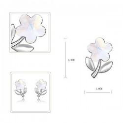 kristályos fülbevaló Fehér kristályos virág fülbevaló