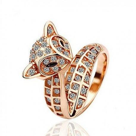 kristályos gyűrű Különleges formájú, rókát mintázó gyűrű apró