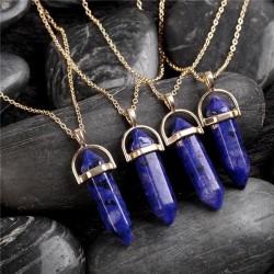 bizsu nyaklánc Kristálymedál kék kővel