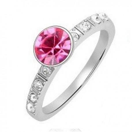 kristályos gyűrű Kerek kristályos gyűrű - rózsaszín