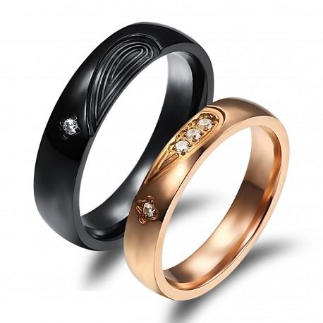 páros karikagyűrű Fekete, férfi nemesacél gyűrű cirkónia kővel