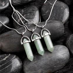 bizsu nyaklánc Kristálymedál természetes kővel - zöld aventurin