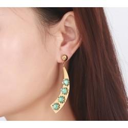 nemesacél fülbevaló Egyedi nemesacél fülbevaló zöld kövekkel