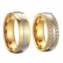 Ezüst sávos férfi nemesacél karikagyűrű, arany bevonattal