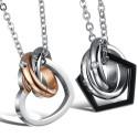 Feliratos páros nemesacél medál nyaklánccal - gyűrűk
