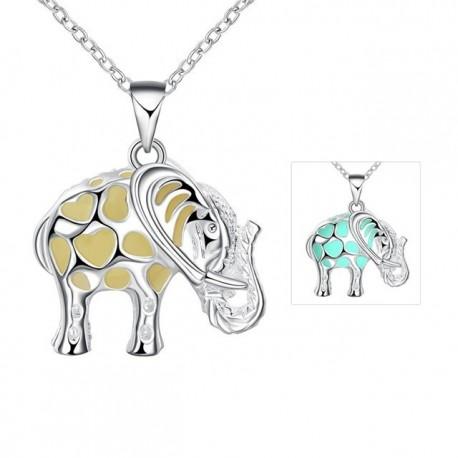 bizsu nyaklánc Foszforeszkáló elefánt medál ezüst bevonattal