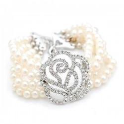esküvői karkötő Rózsa mintás gyöngy karkötő