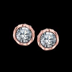 esküvői fülbevaló Kerek, CZ kristályos fülbevaló rózsaarany