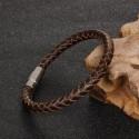 Férfi nemesacél karkötő webáruház Barna fonott bőr karkötő