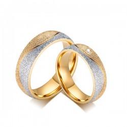 páros karikagyűrű Csillogó szemcsés női karikagyűrű nemesacélból