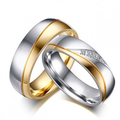 páros karikagyűrű Kéttónúsú női karikagyűrű nemesacélból