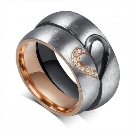 páros karikagyűrű Fél szív mintás női karikagyűrű nemesacélból