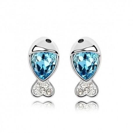 kristályos fülbevaló Kék kristályos halacska fülbevaló