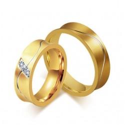 páros karikagyűrű Aranyozott női karikagyűrű nemesacélból