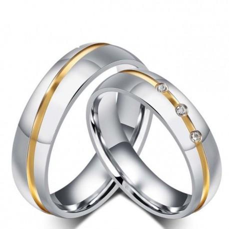páros karikagyűrű Arany sávos női karikagyűrű nemesacélból