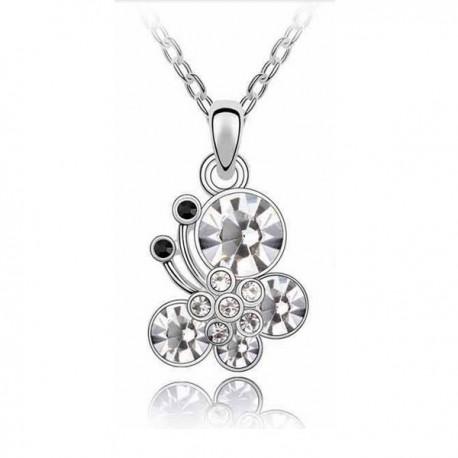 kristályos nyaklánc Fehér kristályos pillangós nyaklánc