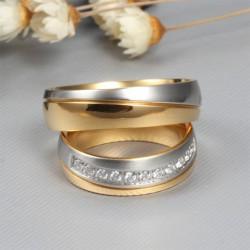 páros karikagyűrű Kéttónusú férfi karikagyűrű nemesacélból