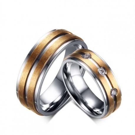 páros karikagyűrű Rózsaarany sávos női nemesacél gyűrű