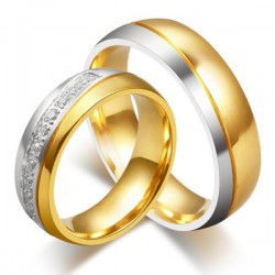 Kéttónusú női nemesacél karikagyűrű