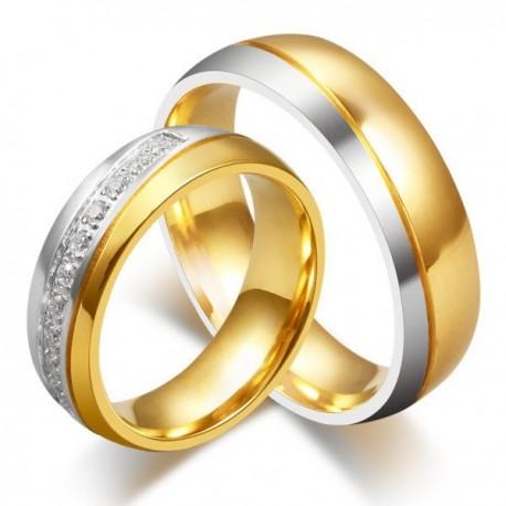 páros karikagyűrű Kéttónusú női karikagyűrű nemesacélból