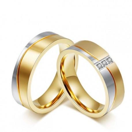 páros karikagyűrű Női nemesacél karikagyűrű arany-ezüst színben
