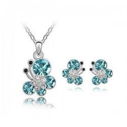 Kék kristályos pillangós ékszerszett