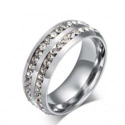CZ kristályokkal díszített női nemesacél gyűrű