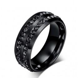Fekete kövekkel díszített férfi nemesacél gyűrű