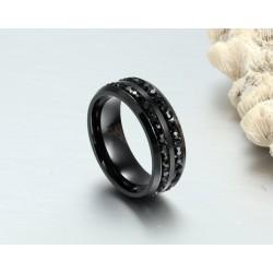 Férfi nemesacél gyűrű webáruház Fekete kövekkel díszített férfi