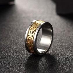 nemesacél gyűrű Arany mintás nemesacél gyűrű