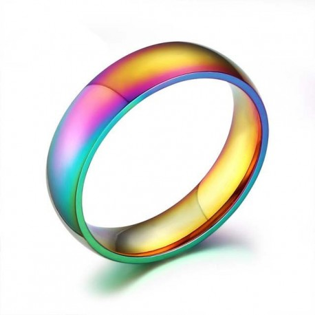 nemesacél gyűrű Szivárnány színű nemesacél gyűrű