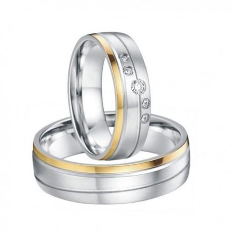 páros karikagyűrű Arany sávos női karikagyűrű nemesacélból, CZ