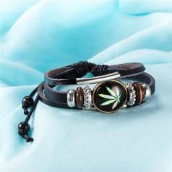 bőr karkötő Cannabis mintával díszített bőr karkötő