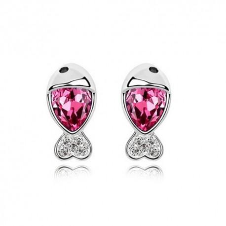kristályos fülbevaló Rózsaszín kristályos halacska fülbevaló