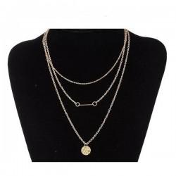 bizsu nyaklánc 3 soros, aranyszínű bizsu nyaklánc