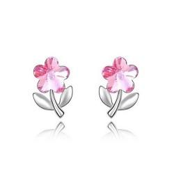 Rózsaszín kristályos virág fülbevaló