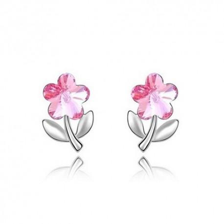 kristályos fülbevaló Rózsaszín kristályos virág fülbevaló