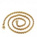 Csavart szemes, aranyozott nemesacél nyaklánc ( 60 cm - 3 mm)