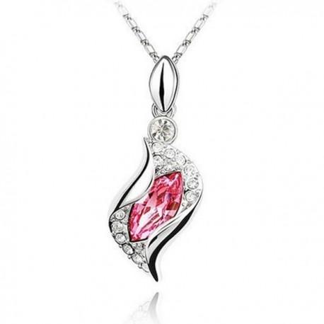 kristályos nyaklánc Rózsaszín kristályos csavart nyaklánc