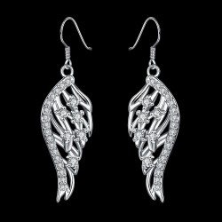 kristályos fülbevaló CZ kristályos, ezüst bevonatú angyalszárny